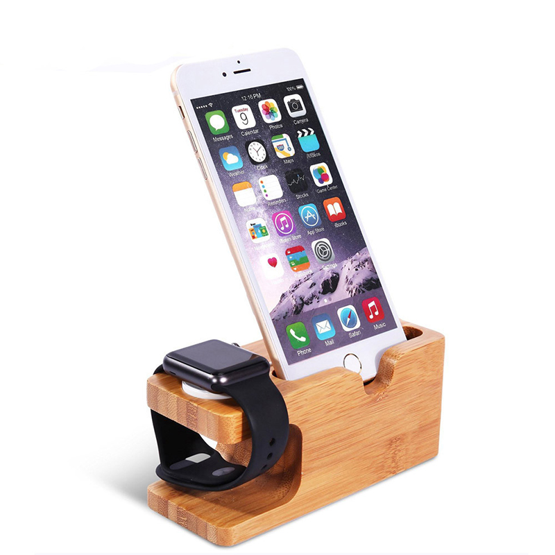 Universal Office Desk Wooden Bamboo Mobile Phone Holder and Wireless Watch Charging Stand for Apple Watch iphone 2 in 1 Stand
