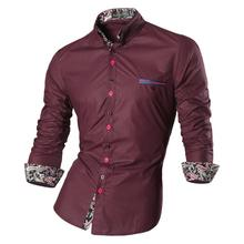 Jeansian Men's Fashion Dress Casual Shirts Button Down Long Sleeve Slim Fit Designer Z027 WineRed2 long sleeve button down mini shift dress