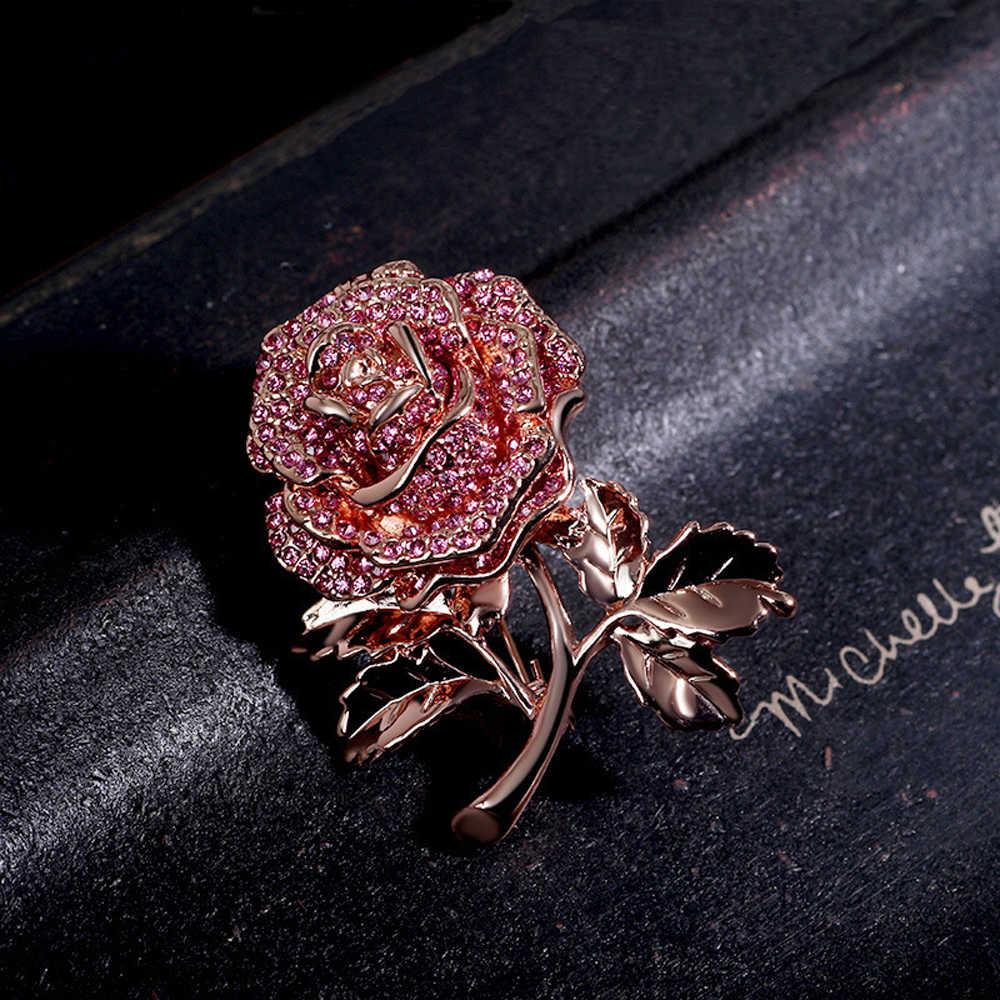 Jujie Berkilau Mewah Kristal Bunga Bros untuk Wanita 2019 Rose Bros Pin Gaun Syal Aksesoris Tanaman Perhiasan Dropshipping