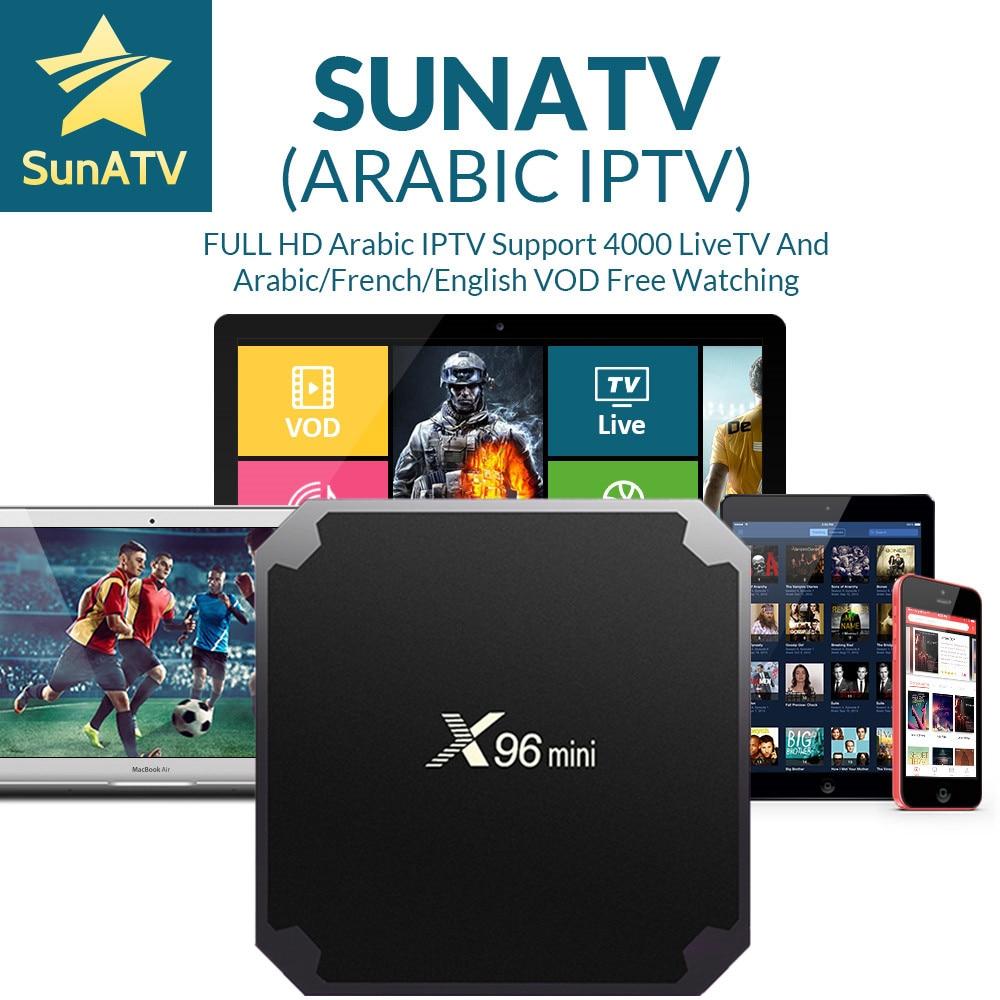 SUNATV X96 Mini 1G8G Android 7.1 box With Arabic/French/Belgium/Netherland/Turkey/Portugal/UK IPTV VOD set top box sunday sews