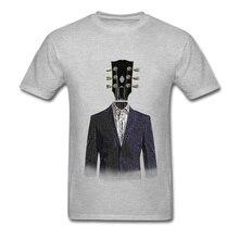 Guitar Lover Tops Tees For Men Music Gentleman T-shirt High Street Fashion Clothing Cotton Grey T Shirts Classic Designer Tshirt