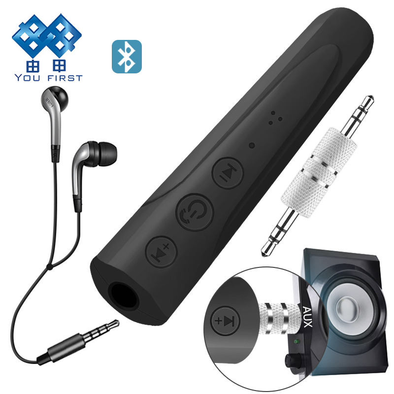 Вы сначала 3.5 мм приемник Bluetooth автомобиля Комплект Беспроводной громкой связи аудио Музыка AUX Наушники Динамик автомобиля приемник Bluetooth с …