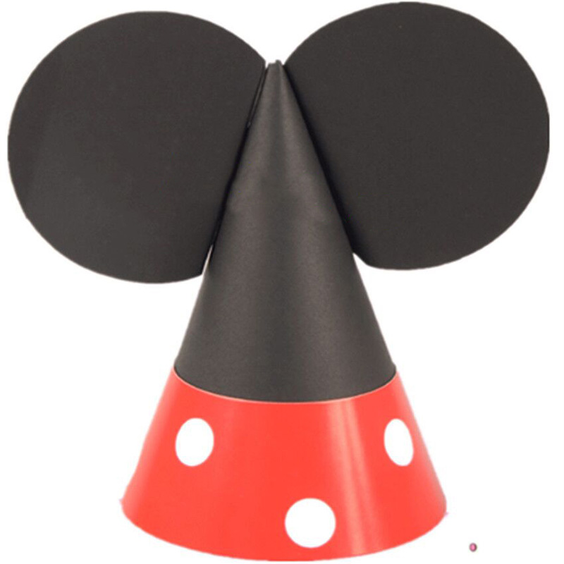 1Pcs Hot DIY Mickey Minnie Mouse party hats Childrens birthday hat Festive dress props pointed hat 55Z