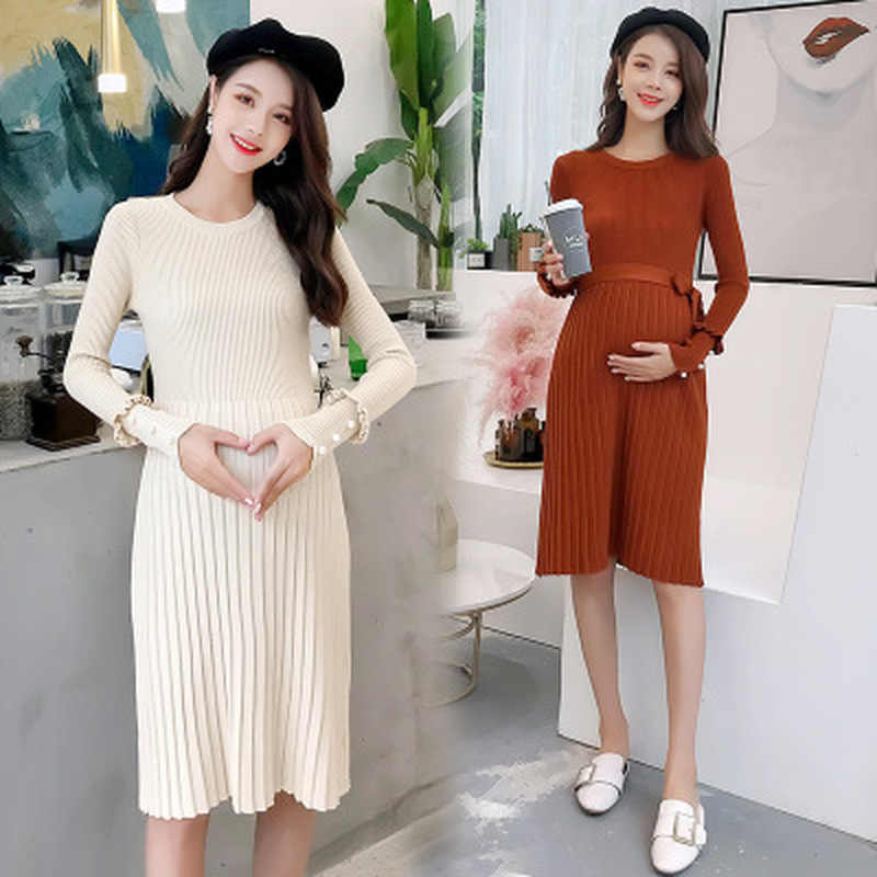 Autumn Winter pregnancy dress Elegant Ruffles Maternity knitted Dress Clothes for pregnant women Fashion Beeding Maternity wear