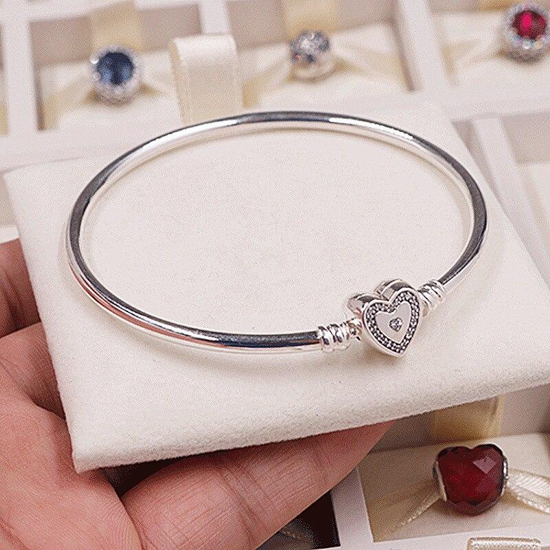NEW! Perfect Charm logo Engraved S925 Silver charms Hearts femme Bracelet Bangles women Elegance jewelry making,1pz недорго, оригинальная цена