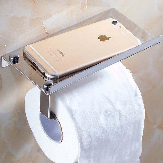 Free Shipping Chrome Bathroom Toilet Paper Holder Stainless Steel Tissue Bar Hanger mobile phone rack