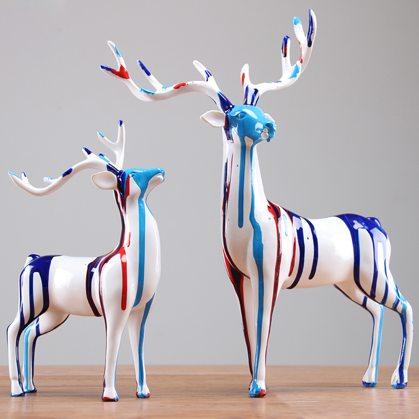 High quality Europe resin deer Carving Handicraft Furnishing Articles Home Decor Figurines Miniatures Desktop Arts and Crafts in Figurines Miniatures from Home Garden