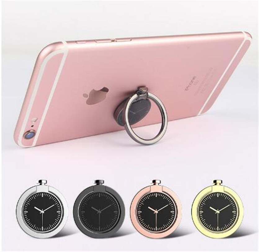 100pcs/lot Creative Watches 360 Degrees Rotation Finger Ring Holder Universal Mobile Phone Metal Finger Bracket Stand for iPhone