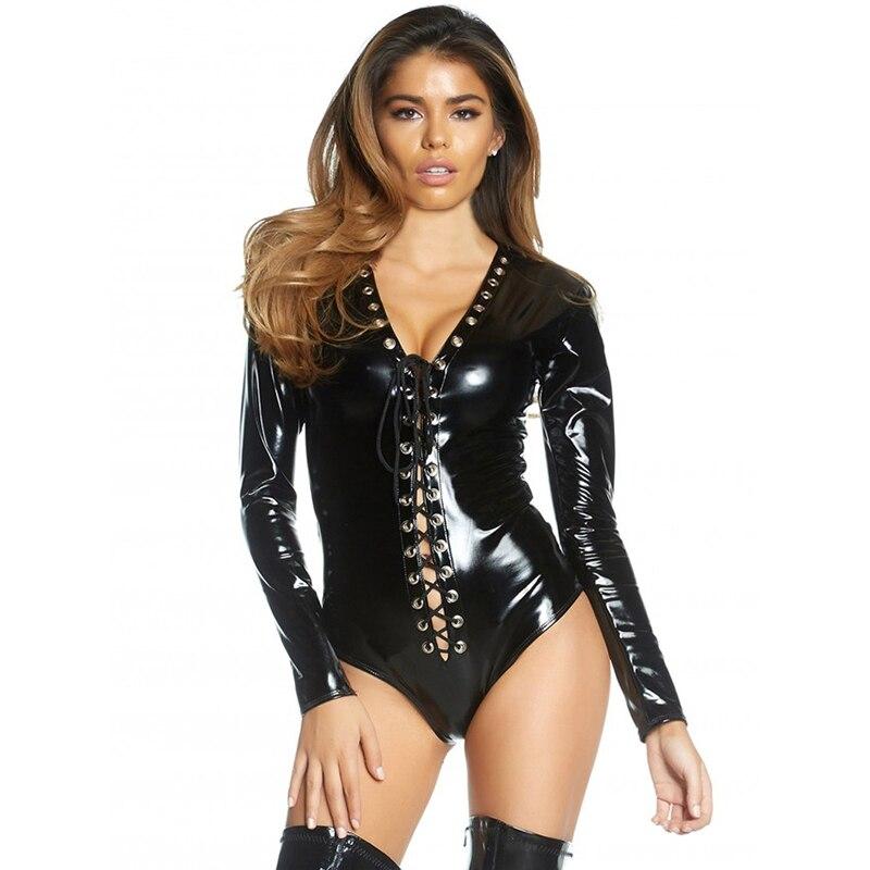 Wetlook Catsuit Long Sleeve Leather Bodysuit Lingerie Sexy Lace Up Black Faux Vinyl Body Suits for Women Club Latex PVC Jumpsuit