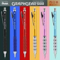 Japan Pentel Graph Gear 1000 Drawing Metal Rod Mechanical Pencil Low Center of Gravity Retractable Nib 0.3 0.5 0.7 0.9mm 1PCS