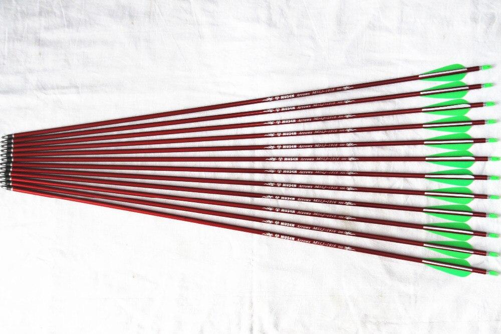 """""""12шт/лот 31"""""""" стрельба из лука Алюминиевый стрелка Spine500 с точки Переменчивый красные стрелки для 30-60lbs соединение и изогнутый лук"""""""
