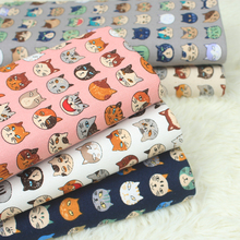 half yard import cotton linen cartoon little cat fabric, handmade DIY patchwork pillow back cushion bag cloth CR-A300
