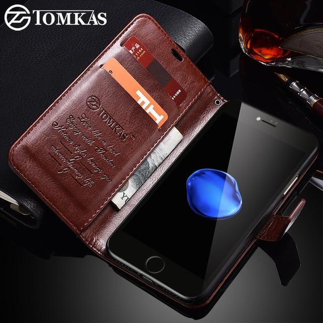 TOMKAS Durumda iPhone 7 8 Artı PU Deri Cüzdan Stil Için Kickstand iş Telefonu Çanta Olgu X 8 7 Artı 6 Artı vaka