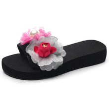 handmade flower women sandals slippers summer big size high heel one-word anti-skid fashion beach shoes flip flops