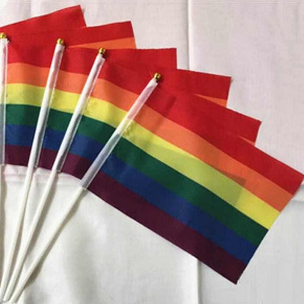 1 ชิ้น Rainbow flag Hand Waving เกย์ Pride LGBT parade ที่มีสีสัน Rainbow Peace ธงจัดส่งฟรี