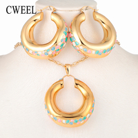 CWEEL African Beads Jewelry Sets Nigerian Wedding Green And Gold For Women Dubai Necklace Bridal Costume