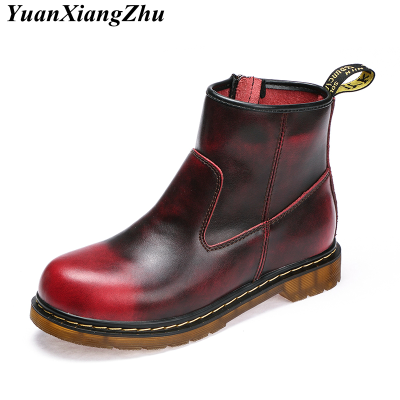 Genuine Leather Boots Women Doc Martins Botas Mujer Plus Size Shoes Woman Ankle Boots Dr Martins Winter Boots Ladies Booties New 2018 high quality handmade thick heel women shoes genuine leather women boots martins winter vintage ankle boots botas mujer