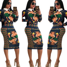 Poker Print Two Pieces Dresses Women Turn-down Collar Long Sleeve Shirt Dress Elegant Casual Work Wear Slim Midi Pencil Dress s xxl plus size corset blue knitted sweater dress women turn down collar casual elegant dress women midi long sleeve dresses