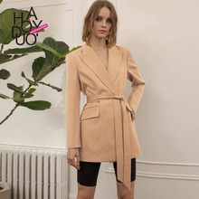 Simple Commuter Camel Color Large Necktie Pocket Belt Trim Suit and Coat 2019 Pockets Notched Women Jackets and Coats Suit 2019 spring women s heavy industry love embroidery feelings ol commuter small suit coat women women jackets and coats