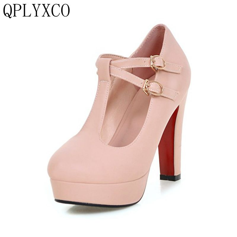 QPLYXCO 2017 Sale New Sweet Big Size 32-43 Women High Heels Shoes Ladies Fashion Pumps Round Toe Party Dance Wedding Shoes A11