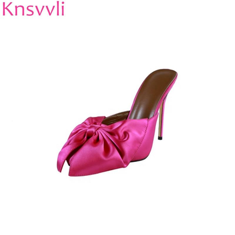 Knsvvli bout pointu rose aiguille rouge femmes pantoufles noir satin bowknot à pois mode élégantes femmes mules talons été-in Pantoufles from Chaussures    1