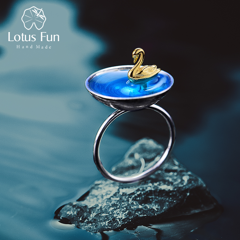 Lotus Fun Real 925 Sterling Silver Fine Jewelry Natural Creative Handmade Designer Poetic Swan In The Sea Rings for Women Bijoux