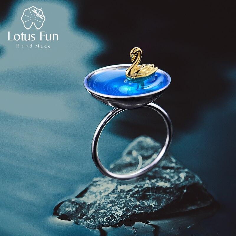 Lotus Plaisir Réel 925 En Argent Sterling Fine Jewelry Naturel Creative main Designer Poétique Cygne Dans La Mer Anneaux pour les Femmes Bijoux