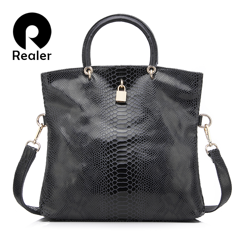 Realer woman handbag Genuine Leather Bags Female Snake Pattern Tote Bag Top Quality Leather Handbags Evening