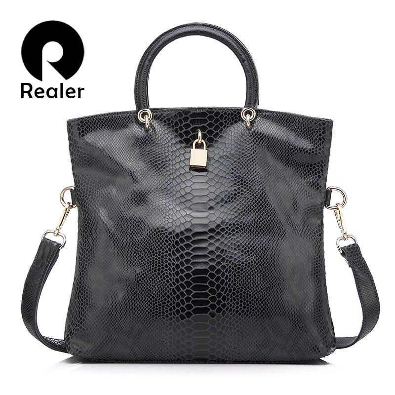Bolso de mujer Realer bolsos de cuero genuino bolso de mano con patrón de serpiente para mujer bolsos de cuero de alta calidad bolso de noche bolso de hombro