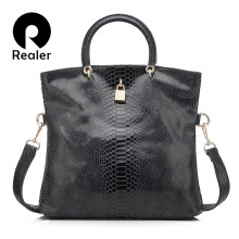 Realer woman handbag Genuine Leather Bags Female Snake Pattern Tote Bag Top Quality Leather Handbags Evening Clutch Shoulder Bag(China)