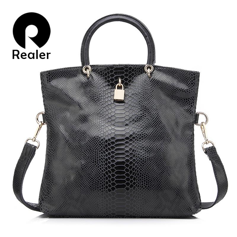 Realer Woman Handbag Genuine Leather Bags Female Snake Pattern Tote Bag Top Quality Leather Handbags Evening Clutch Shoulder Bag