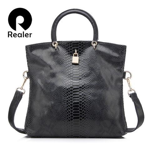 Realer woman handbag Genuine Leather Bags Female Snake Pattern Tote Bag Top Quality Leather Handbags Evening Clutch Shoulder Bag Pakistan