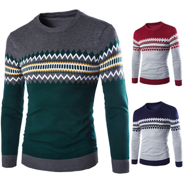2016 New Autumn Fashion Brand Casual Sweater O-Neck Striped Slim Fit Knitting Mens Sweaters And Pullovers Men Pullover
