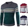 2016 Otoño Nueva Marca de Moda Informal Suéter Del O-cuello Del Mens Suéteres Y Suéteres Hombres Suéter de Rayas Slim Fit Knitting