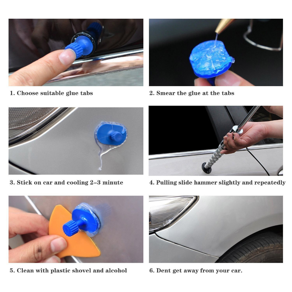 Купить с кэшбэком WHDZ PDR Tools  Dent Puller 2in1 Slide Hammer Puller Tabs Dent Removal Paintless Dent Repair Tools Suction Cup Hand Tools Kit