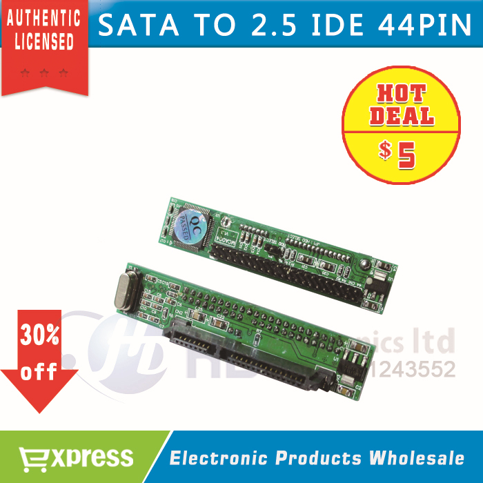 BRAND New SATA Female to 44Pin 2.5 IDE Male HDD SSD Adapter Converter 7+15P 22pin sata to ide wholesale