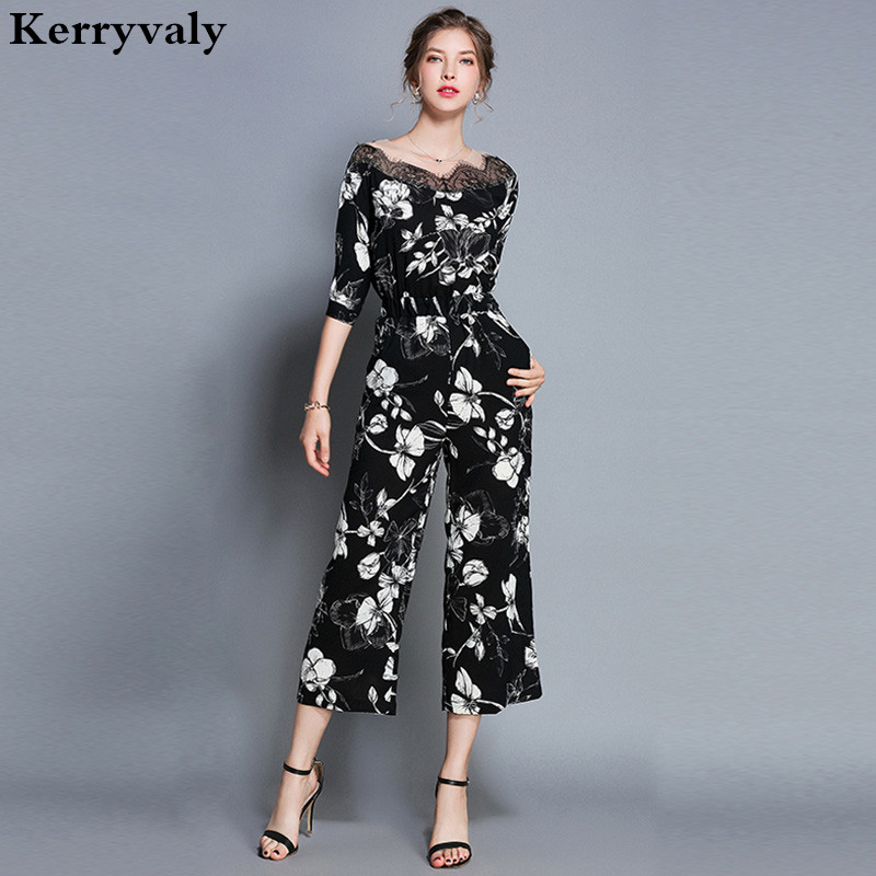 Summer Print Lace Jumpsuits Monos Mujer Largos 2019 Overalls For Women Playsuits Leisure Rompers  K8971