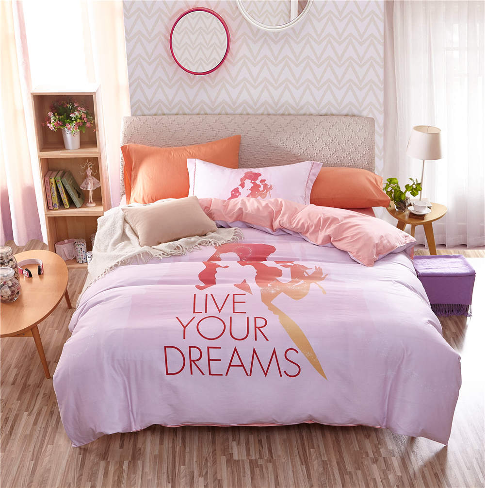 Disney Cartoon Princess 3D Printed Bedding Set For Girls