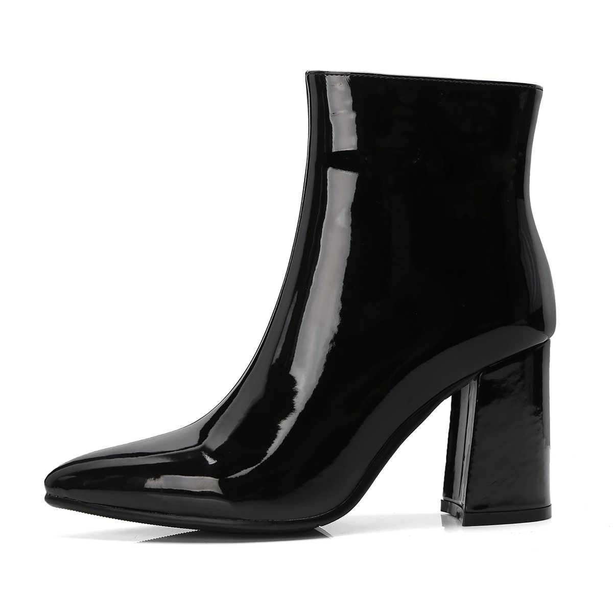 Moda Patent Deri yarım çizmeler Kadın Kare Yüksek Topuk Bayan Botları Seksi Fermuar Çizmeler Sivri Burun Sonbahar Kış Ayakkabı 2018