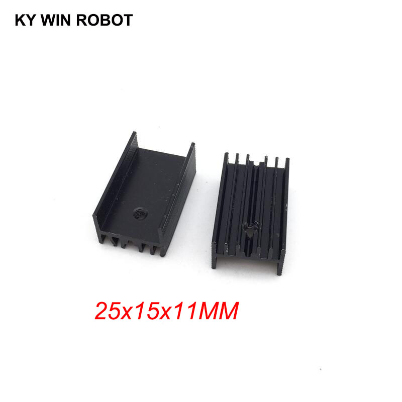 10pcs Free Shipping Aluminium TO-220 Heatsink TO 220 Heat Sink Transistor Radiator TO220 Cooler Cooling Black 25*15*11MM