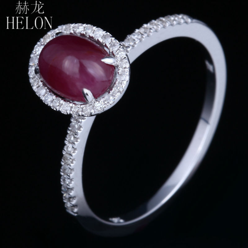 HELON Romantic 10K White Gold 7x5mm Oval Cut Red Ruby Pave Natural Diamond Engagement Wedding Ring For Women's Fine Jewelry Ring s110 romantic birthday gift diamond ring style led white light usb lamp white red
