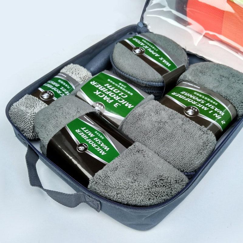 9pcs Car Cleaning Kit Car Wash Supplies Microfiber Towel  Detailing Car Wheel Brush Waxing Sponge Combination Car Cleaning Tools