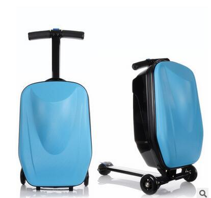 "Luxury Brand 20"" Travel Luggage Case Scooter Case Good quality skateboard rolling luggage micro scooter suitcase on wheels"