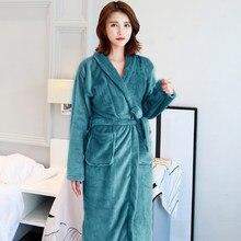 1378a1ccfe Winter New Coral Fleece Lady Robe Kimono Bathrobe Nightgown Thick Warm Long  Sleeve Sleepwear Bath Night Dress Gown Size L XL