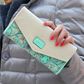 Hot Sale New Fashion  Women Wallet Hit Color  Flowers Printing  Zip PU Leather Wallet Long Ladies Clutch Cash Card Purse LL1026