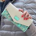 Hot Venda Nova Moda Feminina Carteira Cor Hit Impressão Flores Zip Carteira De Couro PU Longo Das Senhoras Embreagem Bolsa de Cartão De Dinheiro LL1026
