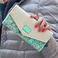 Venta caliente Nuevas Mujeres de La Moda Billetera Hit Color de Flores de Impresión Zip PU Billetera de Cuero Larga de Las Señoras Del Embrague Cash Card Monedero LL1026