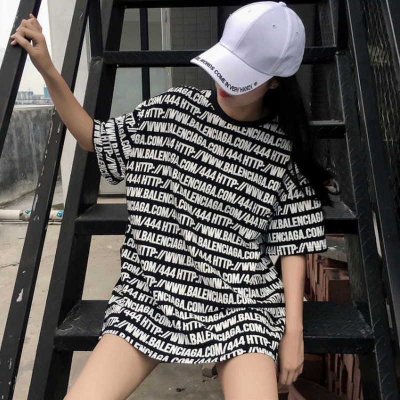 KYMAKUTU Harajuku Bf Style Loose T Shirts Letter Print Fashion Tshirts All Match Summer Tops for Women O Neck Poleras Mujer 2XL