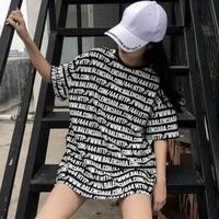 KYMAKUTU Harajuku Bf Style Loose T Shirts Letter Print Fashion Tshirts All Match Summer Tops For