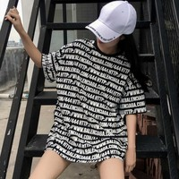 KYMAKUTU Harajuku Bf Style Loose T Shirts Letter Print Fashion Tshirts All Match Summer Tops For
